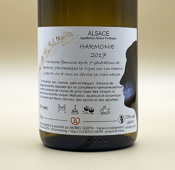 against label harmony 2017 wine alsace domaine gueth gueberschwihr
