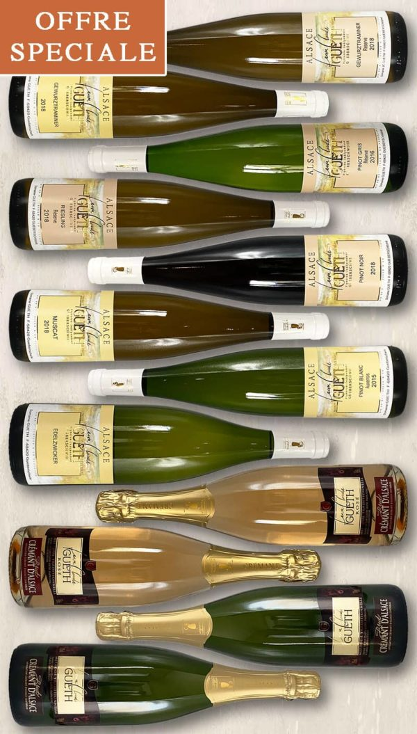 2021 selection 12 bottles tradition alsace wine domaine gueth gueberschwihr