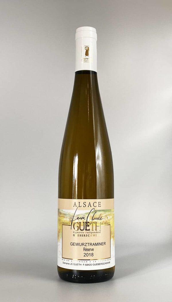 Flasche Gewürztraminer Reserve 2018 Elsass Wein Domaine Gueth Gueberschwihr