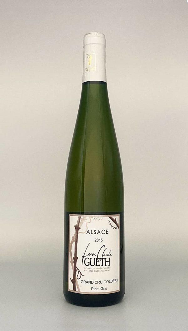 Flasche Pinot Gris Grand Cru Goldert 2015 Elsass Wein Domaine Gueth Gueberschwihr
