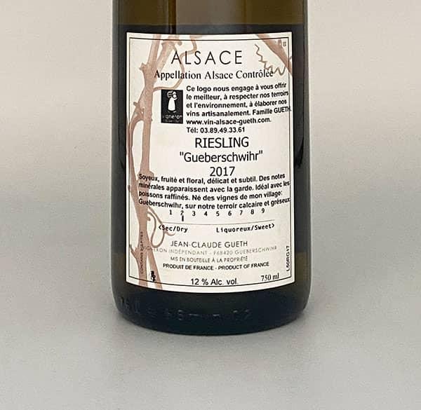 Rieslingdorf 2017 Elsass Wein Zurück Label Domaine Gueth Gueberschwihr