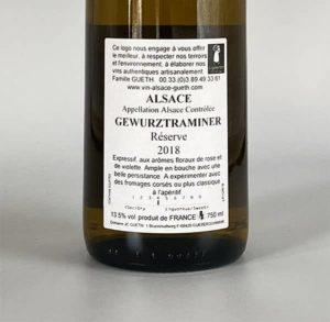 contre etiquette gewurztranimer reserve 2018 vin alsace domaine gueth gueberschwihr