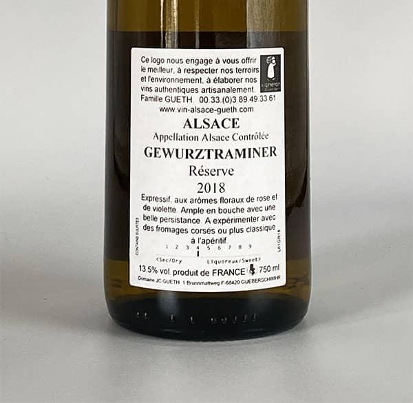 gegen Etikett Gewurztranimer Reserve 2018 Elsass Wein Domaine Gueth Gueberschwihr