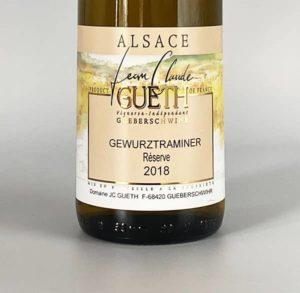 etiquette gewurztranimer reserve 2018 vin alsace domaine gueth gueberschwihr
