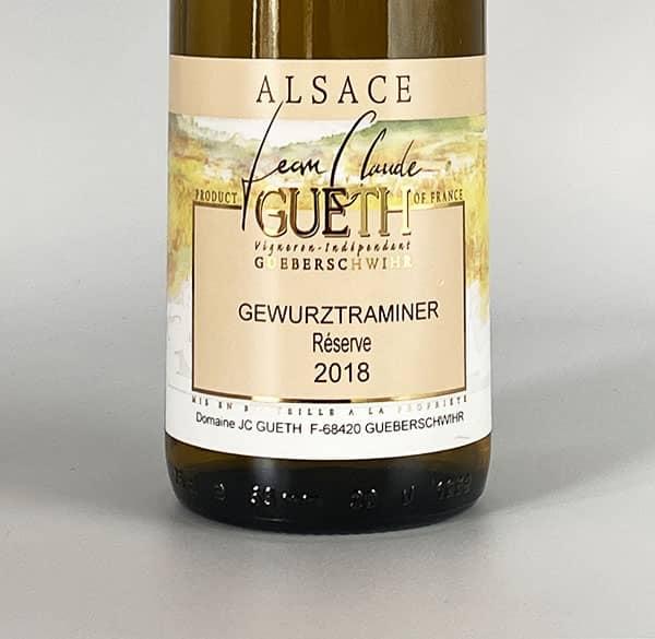 label gewurztranimer reserve 2018 alsace wine domaine gueth gueberschwihr