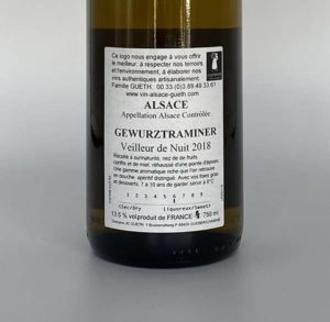 contre-etiquette gewurztraminer veilleur de nuit manala 2018 vin alsace domaine gueth gueberschwihr