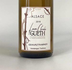 etiquette gewurztranimer vendanges tardives 2018 vin alsace domaine gueth gueberschwihr