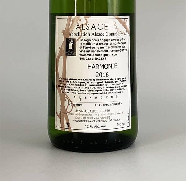 contre etiquette harmonie 2016 vin alsace domaine gueth gueberschwihr