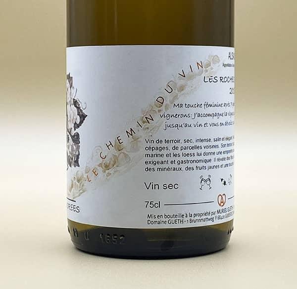 contre etiquette vue 2 les roches dorees vin alsace domaine gueth gueberschwihr
