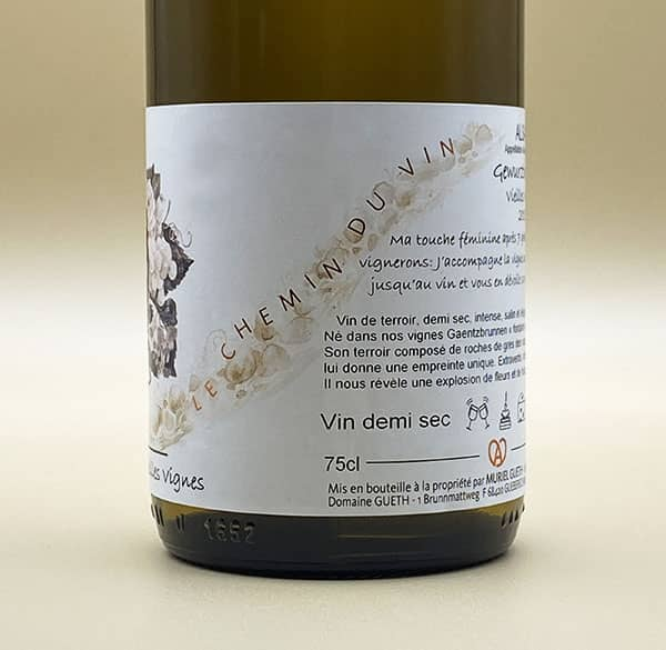 contre etiquette vue 2 gewurztraminer vieilles vignes 2017 vin alsace domaine gueth gueberschwihr
