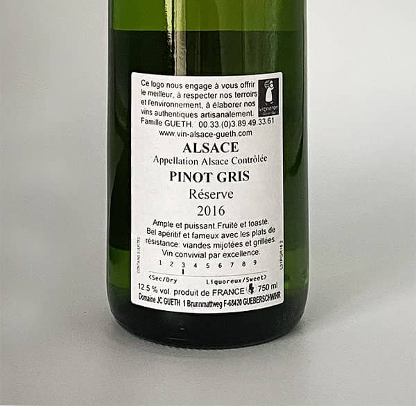 against label pinot gris reserve 2016 alsace wine domaine gueth gueberschwihr