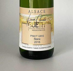 etiquette pinot gris reserve 2016 vin alsace domaine gueth gueberschwihr