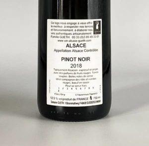 contre etiquette pinot noir tradition 2018 vin alsace domaine gueth gueberschwihr
