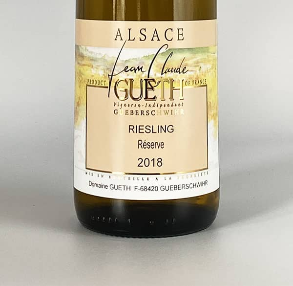 label riesling reserve 2018 alsace wine domaine gueth gueberschwihr
