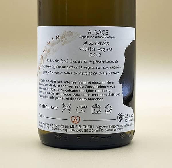contre etiquette pinot blanc auxerrois vieilles vignes 2018 vin alsace domaine gueth gueberschwihr guide hachette