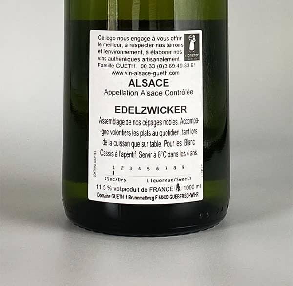 contre etiquette edelzwicker vin alsace domaine gueth gueberschwihr