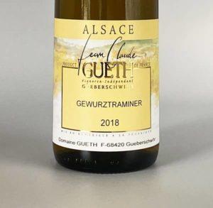 etiquette gewurztranimer 2018 vin alsace domaine gueth gueberschwihr