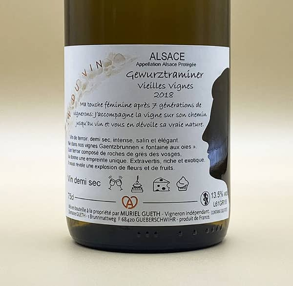 contre etiquette gewurztraminer vieilles vignes 2018 vin alsace domaine gueth gueberschwihr