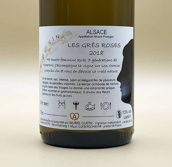 against label les gres roses 2018 alsace wine domaine gueth gueberschwihr