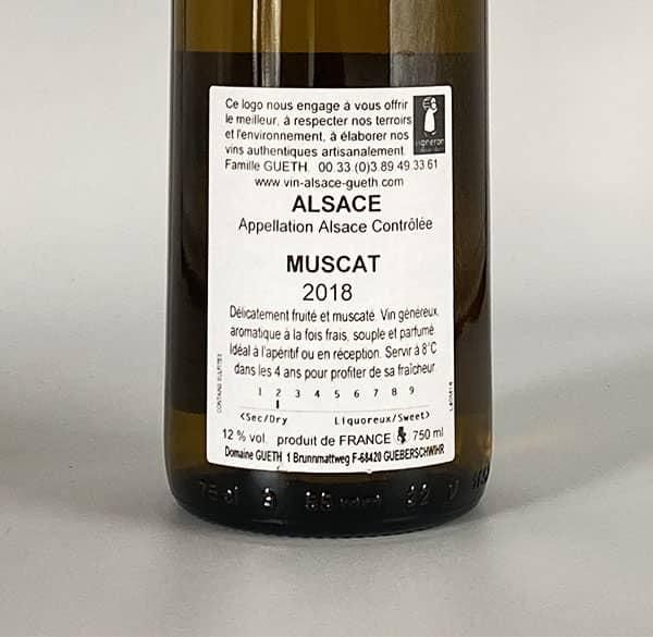 gegen Etikett Muskat 2018 Wein Elsass Domaine Gueth Gueberschwihr