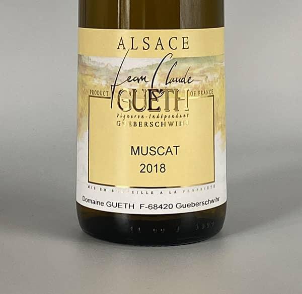 Etikett Muskat 2018 Wein Elsass Domaine Gueth Gueberschwihr