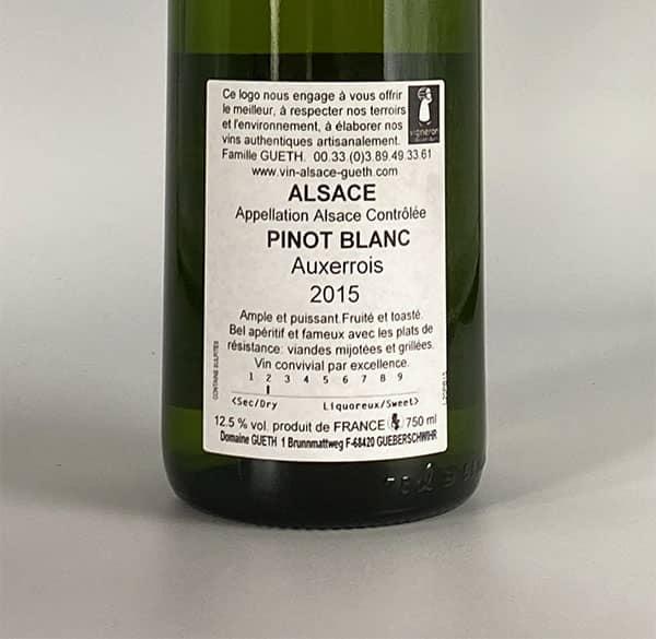 contre etiquette pinot blanc auxerrois 2015 vin alsace domaine gueth gueberschwihr