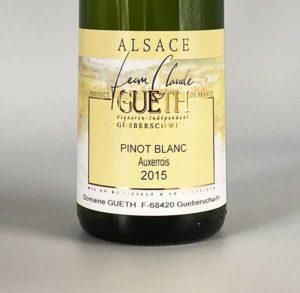 etiquette pinot blanc auxerrois 2015 vin alsace domaine gueth gueberschwihr