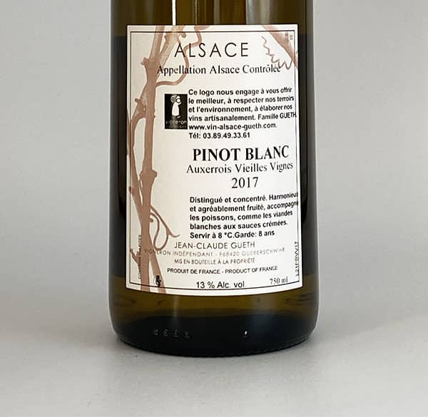 contre etiquette pinot blanc auxerrois vieilles vignes 2017 vin alsace domaine gueth gueberschwihr