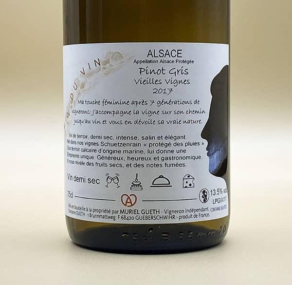 contre etiquette pinot gris vieilles vignes 2017 vin alsace domaine gueth gueberschwihr